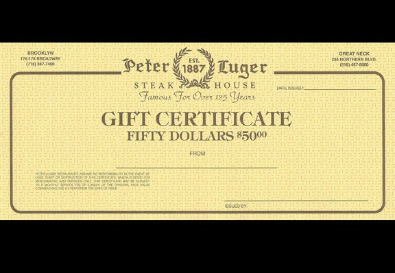 $50 Peter Luger Gift Certificate