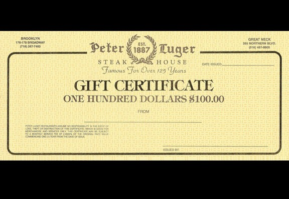 $100 Peter Luger Gift Certificate