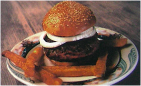Luger-Burger, Over 1/2 lb., on a Bun with French Fries and/or Cheese and Bacon