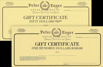 Peter Luger Gift Certificates